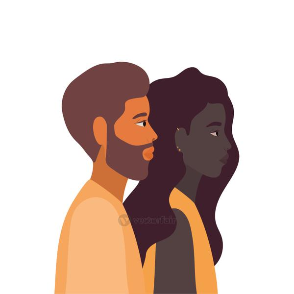 black woman and man cartoon in side view vector design