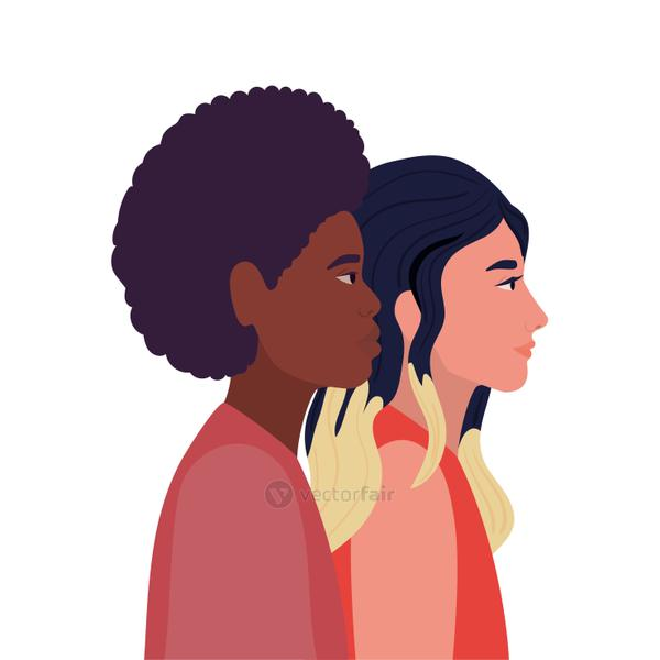 woman and black man cartoon in side view vector design
