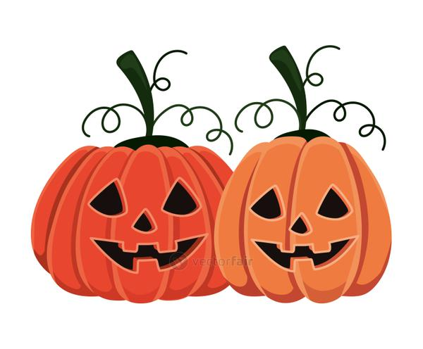 Halloween pumpkins cartoons vector design