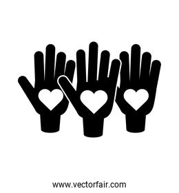 together, hands showing hearts in palms relation friendly pictogram silhouette style