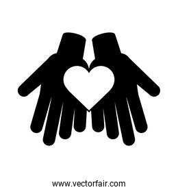 together, hands with heart friendly social pictogram silhouette style