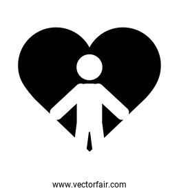 together, person in heart relationship friendly romantic pictogram silhouette style