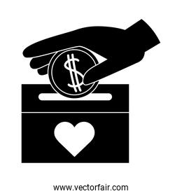 charity and donation hand with coin in box silhouette style icon