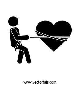 together, person tied heart with rope romantic relationship pictogram silhouette style