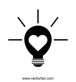 light bulb with heart pictogram silhouette style icon