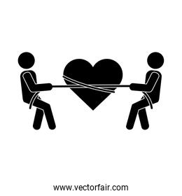 together people heart tied ribbon pictogram silhouette style