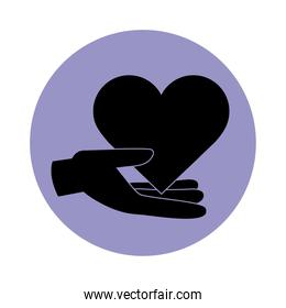 together, hand with heart love friendly romantic pictogram block silhouette icon