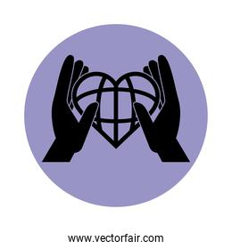 together, hands world shaped heart, support friendly pictogram block silhouette icon