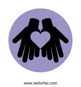 together, hands with heart friendly social pictogram block silhouette icon