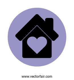 house love heart together pictogram block silhouette icon icon