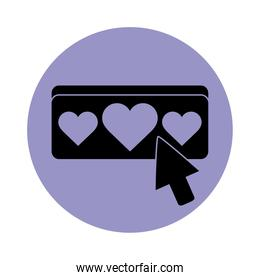 together, social media relationship friendly romantic pictogram block silhouette icon