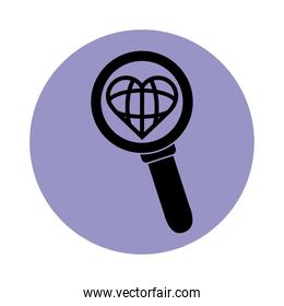 magnifying glass heart love world pictogram block silhouette icon icon