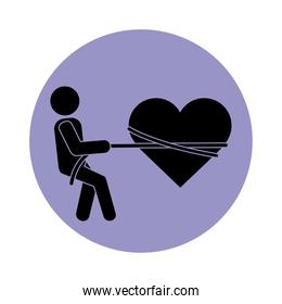 together, person tied heart with rope romantic relationship pictogram block silhouette icon