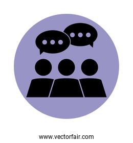 together, society talking people social pictogram, block silhouette icon