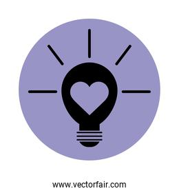 light bulb with heart pictogram block silhouette icon icon