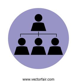 together, business people workgroup pictogram, block silhouette icon