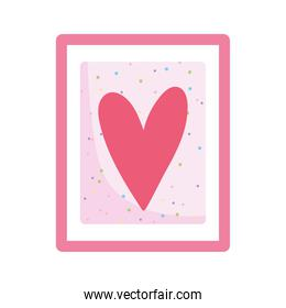 frame decoration with heart dots background isolated design white background