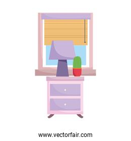 drawers furniture with lamp cactus and window isolated design white background