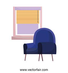 blue chair and window interior isolated design white background