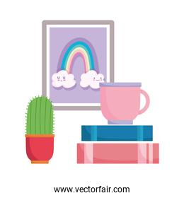coffee cup books cactus and frame isolated design white background