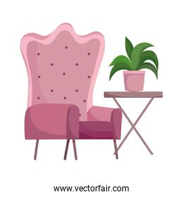 pink armchair table with plant isolated design white background