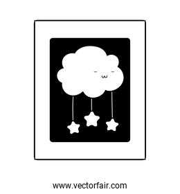 frame cartoo cloud stars decoration isolated icon line style