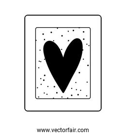 frame decoration with heart dots background isolated icon line style
