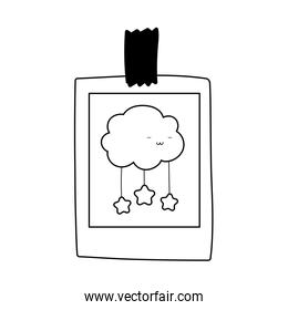 drawing cartoon clouds stars on paper with adhesive tape icon line style