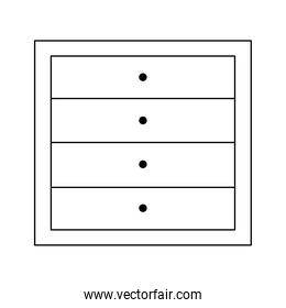 wooden drawers furniture isolated icon line style