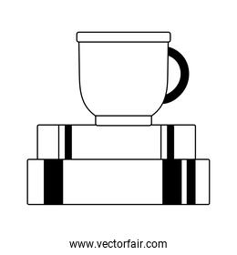 coffee cup on books isolated icon line style