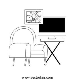 workspace chair table with monitor isolated icon line style