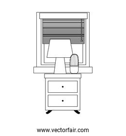 drawers furniture with lamp cactus and window isolated icon line style