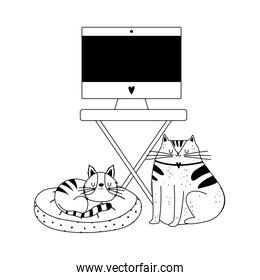 workspace monitor computer on table and cats isolated icon line style
