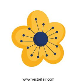 yellow flower decoration isolated icon style