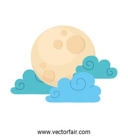 cartoon full moon and clouds sky natural isolated icon style