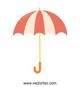 open striped umbrella protection weather isolated icon style