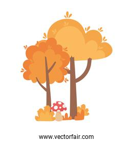 autumn trees mushroom bush isolated icon style