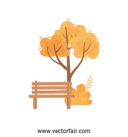autumn tree bush foliage nature bench park isolated icon style