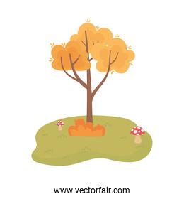 autumn tree bush mushrooms grass cartoon isolated icon style