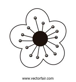 yellow flower decoration isolated icon line style