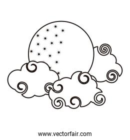 bright moon clouds sky cartoon isolated icon line style