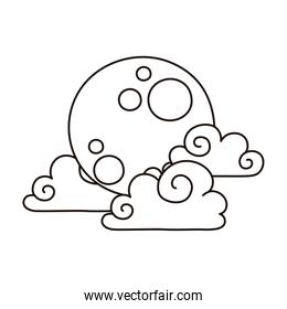 cartoon full moon and clouds sky natural isolated icon line style