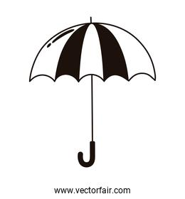 open striped umbrella protection weather isolated icon line style