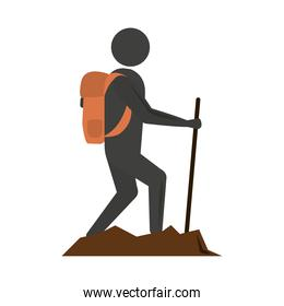 summer vacation travel, traveler man walking with backpack and stick flat icon style