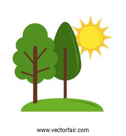 landscape nature trees grass and sun cartoon flat icon style