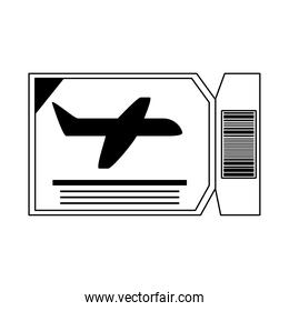 summer vacation travel, airline boarding pass ticket line icon style