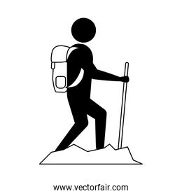 summer vacation travel, traveler man walking with backpack and stick line icon style