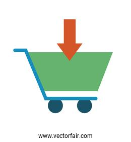 shopping cart with arrow down line and fill style icon