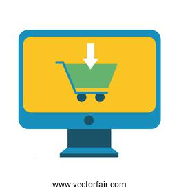 desktop with shopping cart line and fill style icon