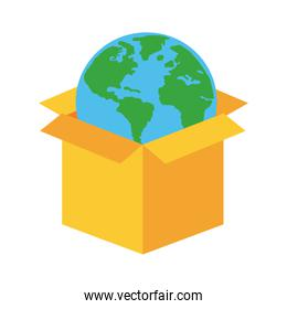world planet earth in box line and fill style icon